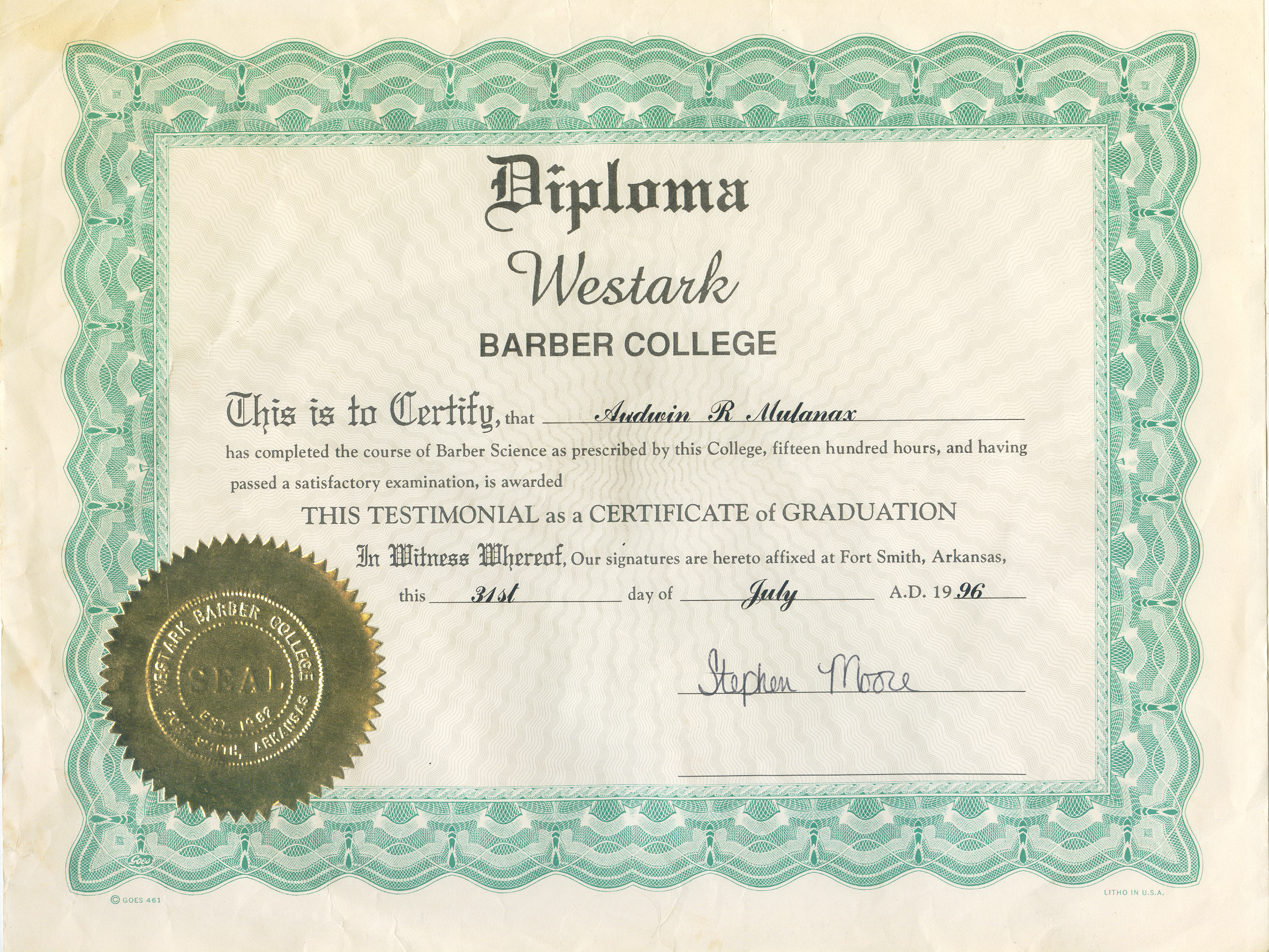Barber License : AudiesBarberShop.com
